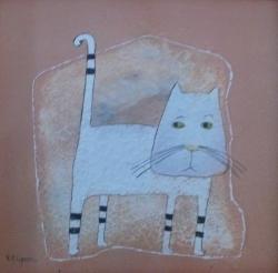 Eva Filipová - Nevinná kočka | Olej 15x15 | Rám | 1.100,- Kč