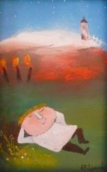Eva Filipová - Noční siesta | Olej 10x15 | Rám | 550,- Kč