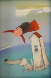 Eva Filipová - Pozor na přistání | Olej 10x15 | Rám | 550,- Kč