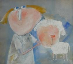 Eva Filipová - Moje ovečka | Olej 45x40 | Rám | 2.500,- Kč