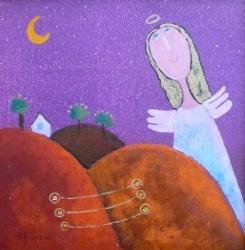Eva Filipová - Klidnou noc | Olej 15x15 | Rám | 1.100,- Kč
